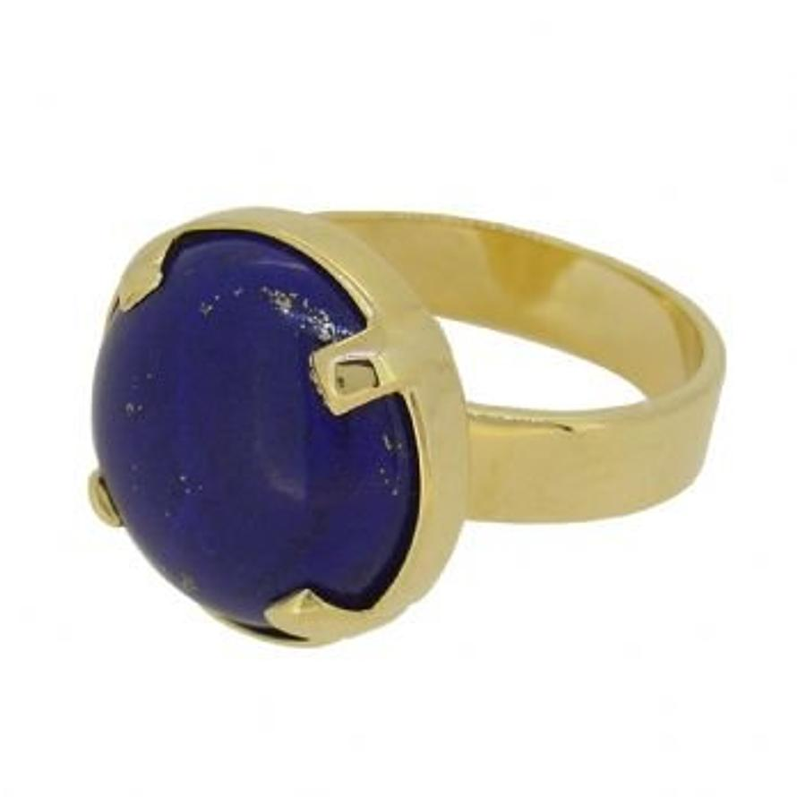 SOLID 9CT GOLD 16mm LAPIS LAZULI SEMI PRECIOUS GEMSTONE COCKTAIL DAY NIGHT RING