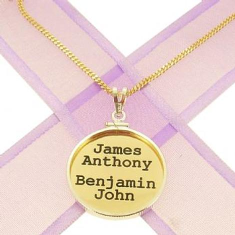24mm COIN FRAME CIRCLE OF LIFE PERSONALISED 9CT GOLD NAME PENDANT COIN FRAME CURB NECKLACE