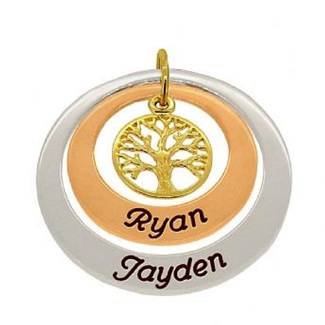 9CT YELLOW ROSE and WHITE GOLD 25mm & 35mm CIRCLE PERSONALISED NAME FAMILY TREE OF LIFE PENDANT