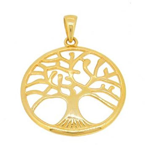 SOLID 18CT YELLOW GOLD 32mm TREE OF LIFE CHARM PENDANT