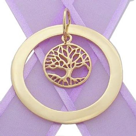 9CT YELLOW GOLD 47mm CIRCLE OF LIFE PERSONALISED FAMILY NAME PENDANT & 20mm TREE OF LIFE CHARM -9Y-47mm-KB55-KB48-NC