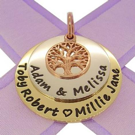 9CT GOLD 30mm COIN STERLING 25mm COIN 9CT ROSE GOLD TREE OF LIFE PERSONALISED NAME PENDANT -9y30mmCOIN-ss25mmCOIN-9rKB52