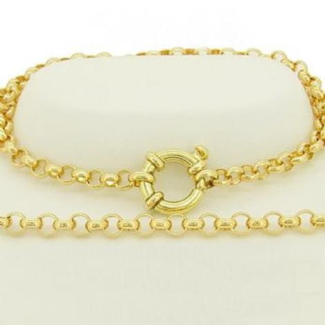 SOLID 9CT GOLD 4.5mm ROUND BELCHER CHAIN NECKLACE with FEATURE BOLT RING