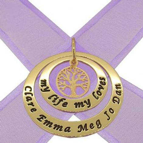 9CT GOLD 25mm & 38mm CIRCLE OF LIFE PERSONALISED FAMILY TREE OF LIFE NAME PENDANT -25mm-38mm-KB52-jr-9Y