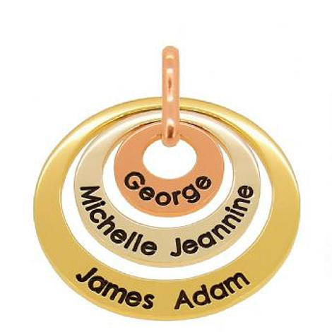 9CT WHITE ROSE YELLOW GOLD TRILOGY 15mm 25mm & 35mm CIRCLE OF LIFE PERSONALISED NAME PENDANT