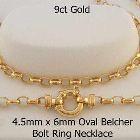 9CT GOLD 4.5mm OVAL BELCHER CHAIN NECKLACE