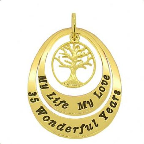 9CT GOLD OVAL CIRCLE OF LIFE PERSONALISED FAMILY TREE NAME PENDANT