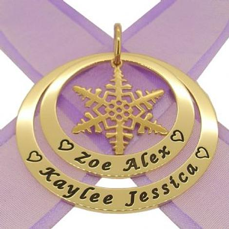 9CT GOLD 35mm & 45mm CIRCLE OF LIFE PERSONALISED NAME SNOWFLAKE PENDANT -35mm-45mm-jr-9Y-KB96