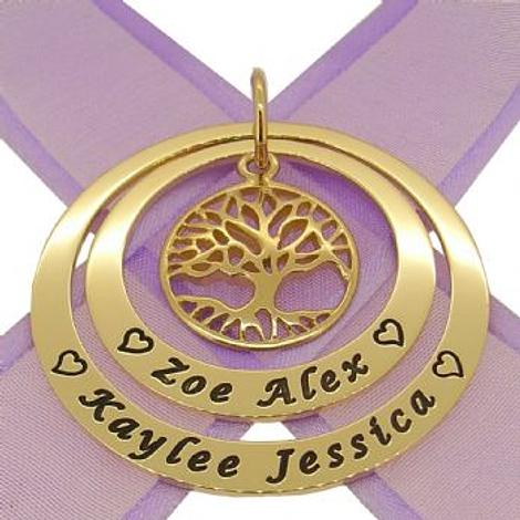 9CT GOLD 35mm & 45mm CIRCLE OF LIFE PERSONALISED NAME FAMILY TREE OF LIFE PENDANT -35mm-45mm-jr-9Y-KB48