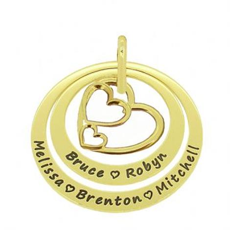 9CT GOLD 35mm & 45mm CIRCLE OF LIFE PERSONALISED NAME TRILOGY TRIPLE HEARTS PENDANT -35mm-45mm-jr-9Y-KB69