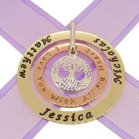 9CT YELLOW GOLD 47mm 9CT ROSE GOLD 43mm CIRCLE TREE OF LIFE PERSONALISED FAMILY NAME PENDANT -9Y-47mm-9R-34mm-KB53-ss