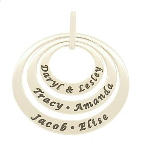 9CT WHITE GOLD 25mm 35mm & 45mm TRILOGY CIRCLE OF LIFE PERSONALISED NAME PENDANT -25mm-35mm-45mm-jr-9Y