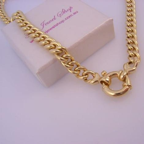 9CT GOLD 6mm CURB LINK BOLT RING 45cm NECKLACE 21g