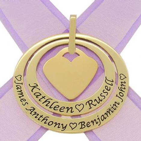 9CT GOLD 35mm & 45mm CIRCLE OF LIFE PERSONALISED NAME PENDANT 22mm HEART -35mm-45mm-FBail-9Y