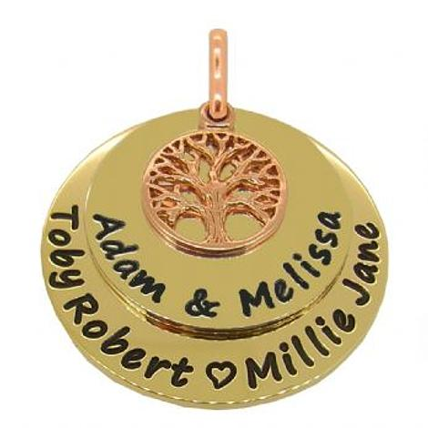 9CT GOLD 25mm and 30mm COINS 9CT ROSE GOLD TREE OF LIFE PERSONALISED NAME PENDANT