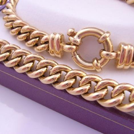 9CT GOLD CURB LINK BOLT RING 19cm BRACELET