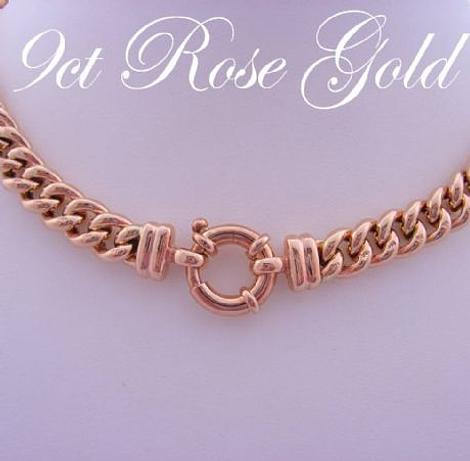 9CT ROSE GOLD CURB LINK BOLT RING 19cm BRACELET