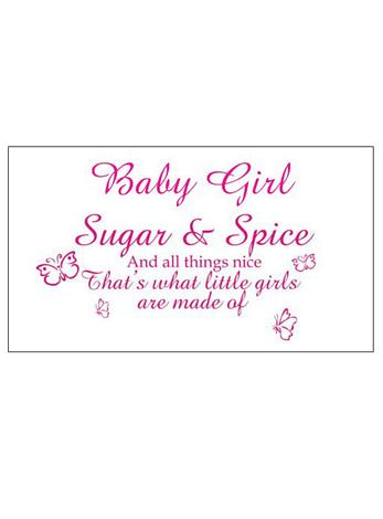 Free Gift Tag Baby Girl Sugar and Spice