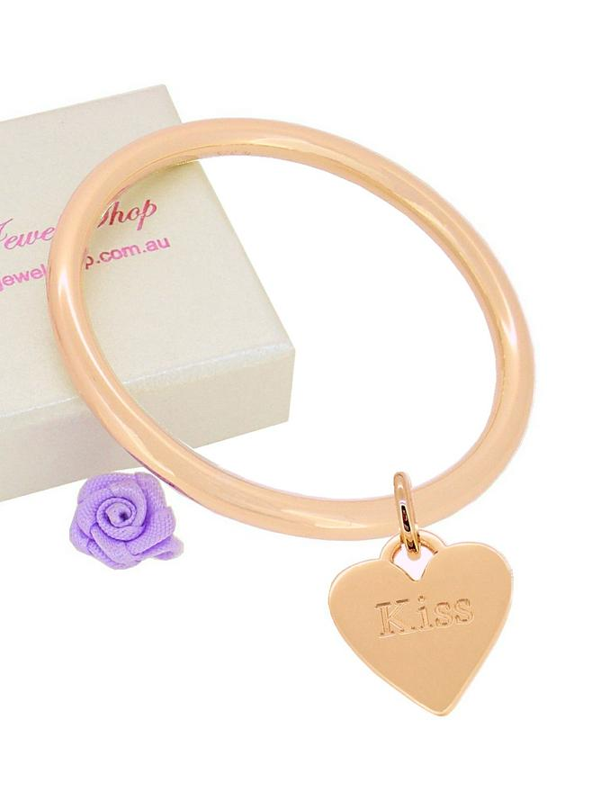 9ct Rose Gold 4mm Golf Bangle Heart Tag Charm All Sizes Baby to Adult