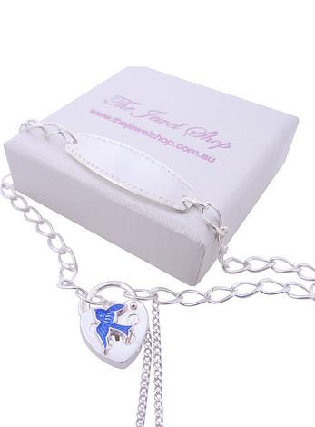Adjustable Bluebird of Happiness Charm Identity Padlock Bracelet in Sterling Silver