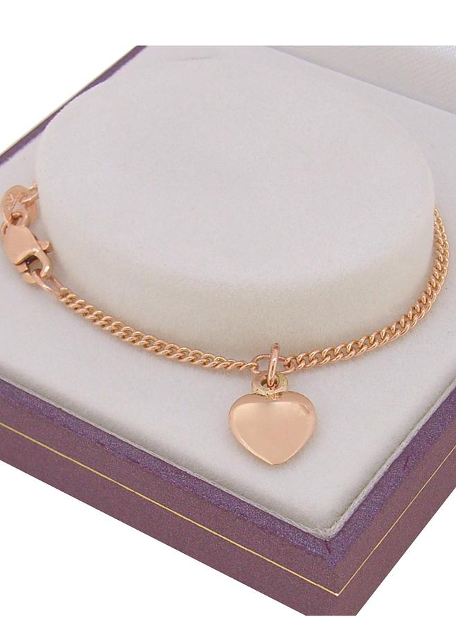 Sweet Baby 8mm Heart Charm Curb Bracelet in 9ct Rose Gold