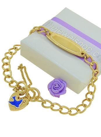 Bluebird of Happiness 5mm Curb Identity Padlock Charm Bracelet