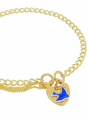 Curb Link Bluebird of Happiness Padlock Charm Bracelet in 9ct Gold