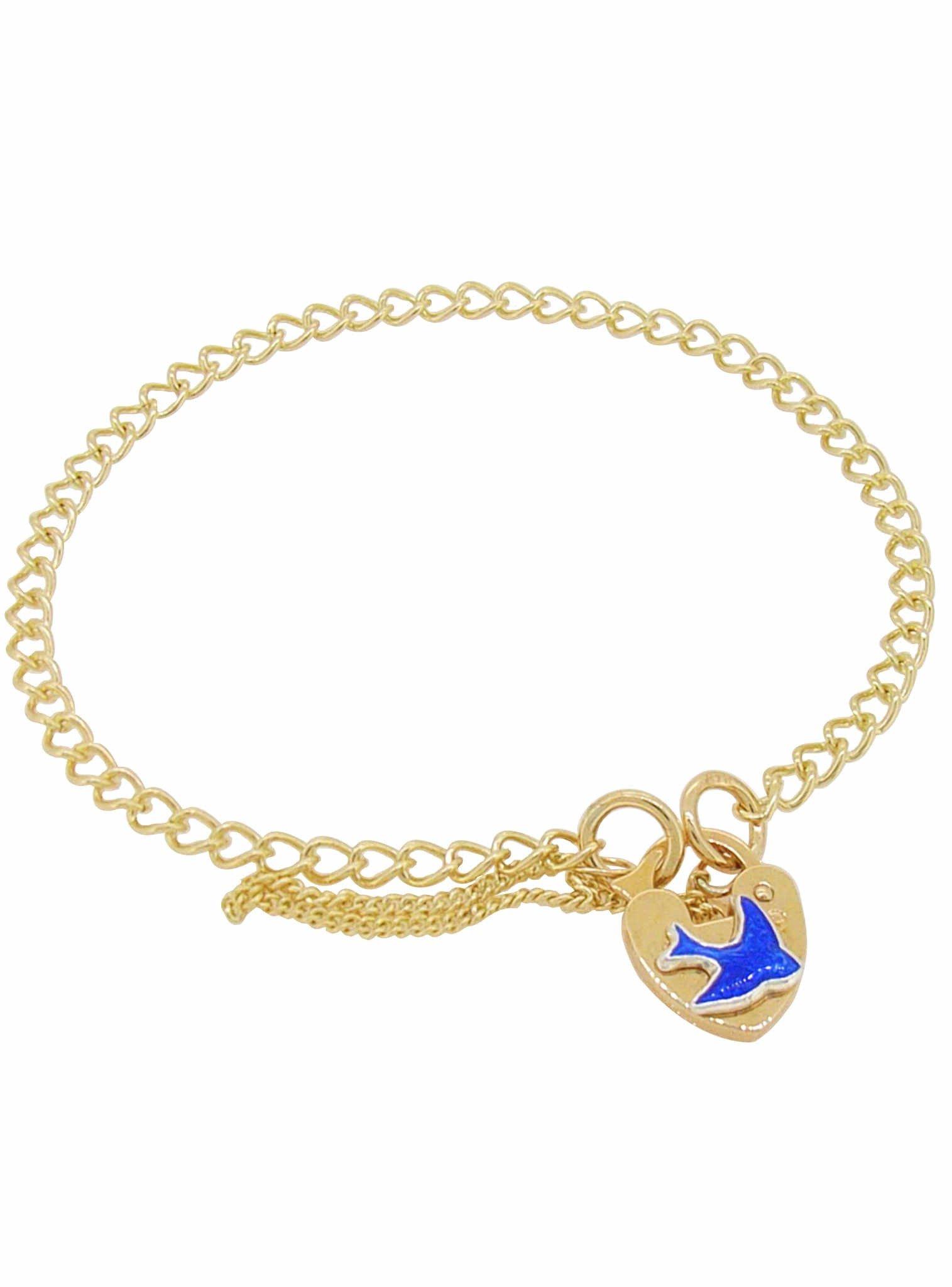Curb Link Bluebird of Happiness Padlock Charm Bracelet 9ct Gold