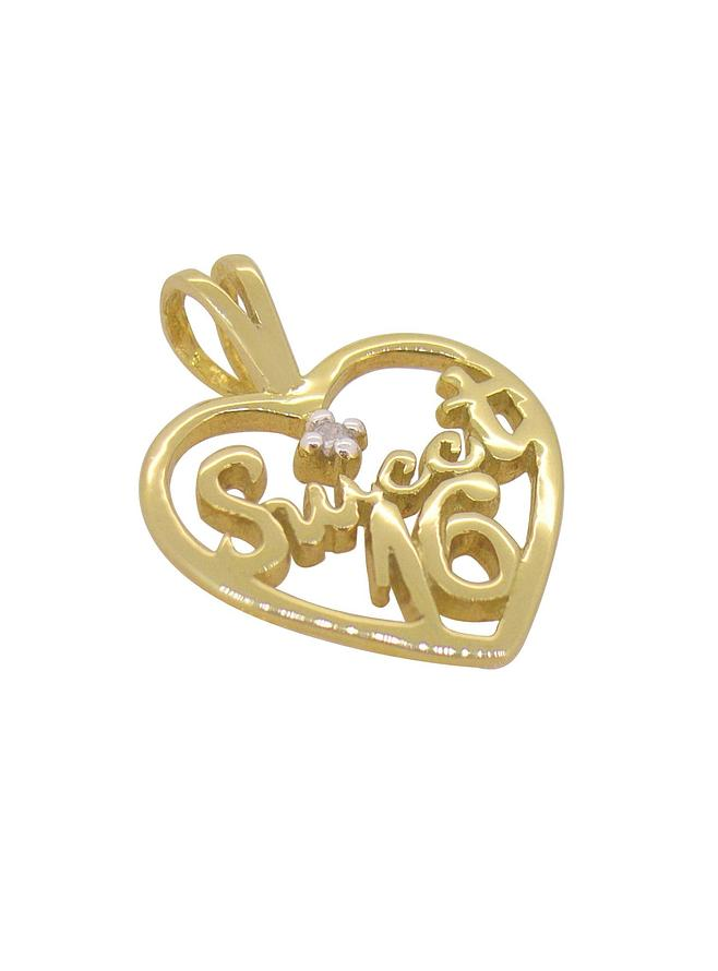 Sweet Sixteen 16th Birthday Diamond Heart Pendant in Solid 9ct Gold