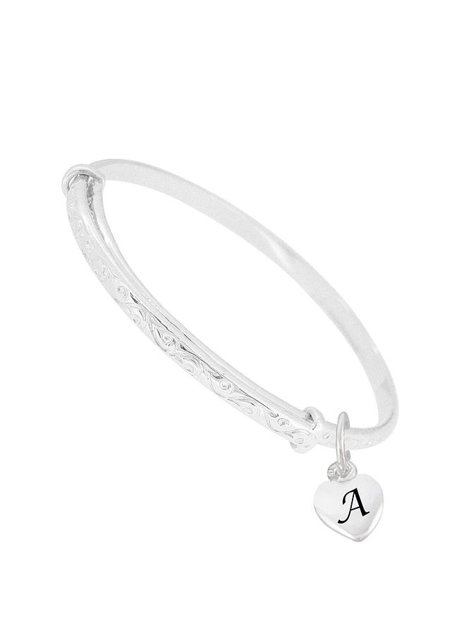 68affbc91b216 Baby to Adult Solid Sterling Silver Personalised Love Heart Expanding Bangle