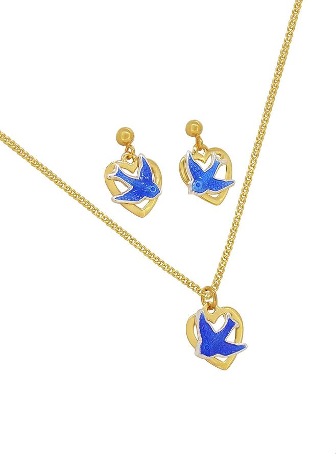 Bluebird of Happiness Hard Gold Plated Love Heart Charm Necklace Earrings Set