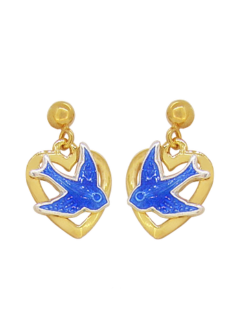 Bluebird of Happiness Open Heart Ball Stud Earrings in 9ct Yellow Gold