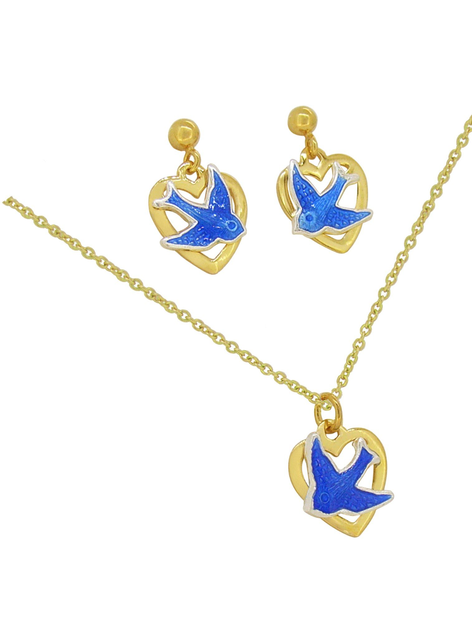 Bluebird Of Happiness Love Heart Charm Necklace And