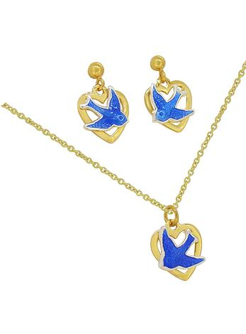 Bluebird of Happiness 9ct Gold Love Heart Charm Necklace Earrings Set