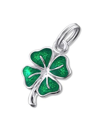 Lucky Four Leaf Clover Charm Pendant in Sterling Silver