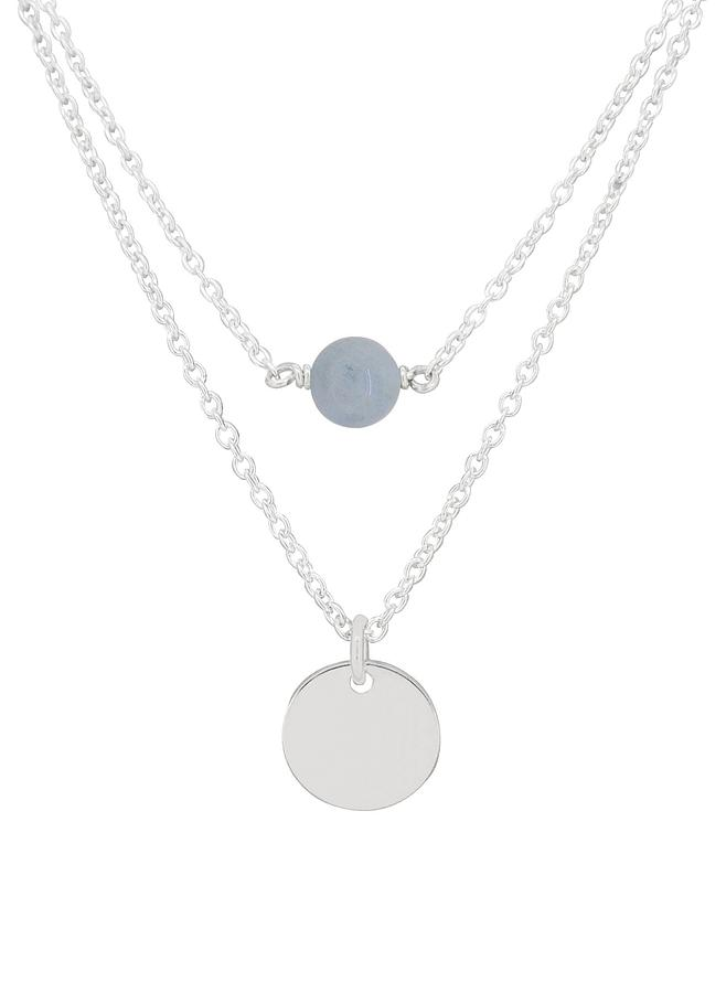 Allure Coin Tag Aquamarine Minimalist Layered Necklace Love Britty