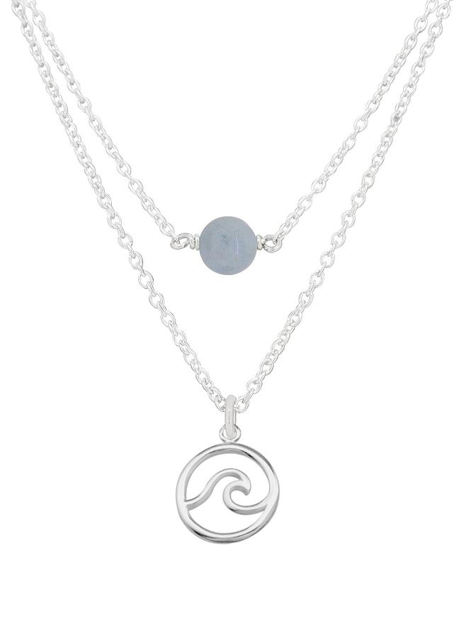 Ocean Wave Aquamarine Minimalist Layered Necklace Love Britty
