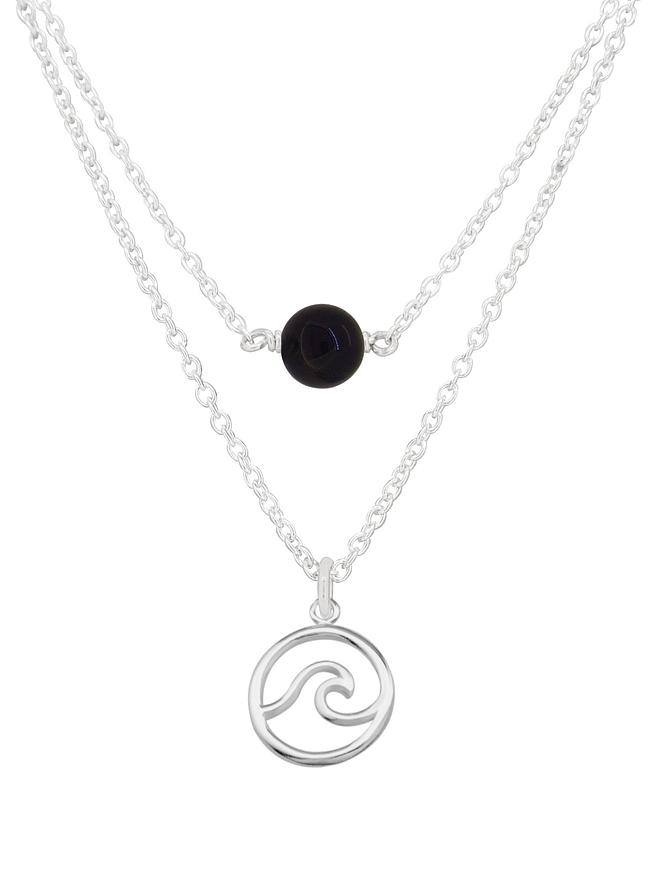 Ocean Wave Onyx Minimalist Layered Necklace Love Britty