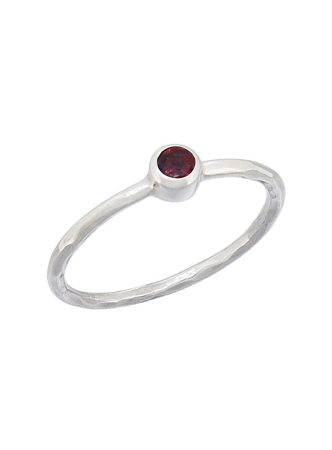 Gemstone Stacking Ring with Garnet in Sterling Silver Love Britty