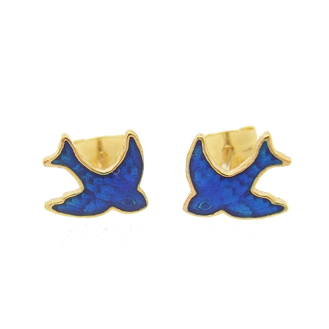 Bluebird of Happiness Charm Stud Earrings in 9ct Gold