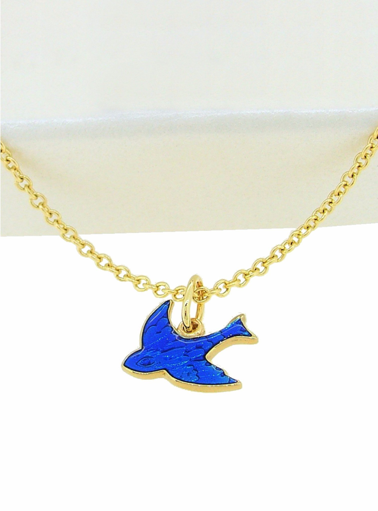 Bluebird of Happiness Stud Earrings and Necklace in 9ct Gold
