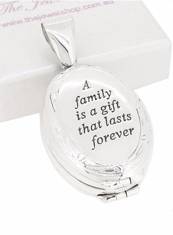 Oval Family Engraved Photo Locket in Sterling Silver