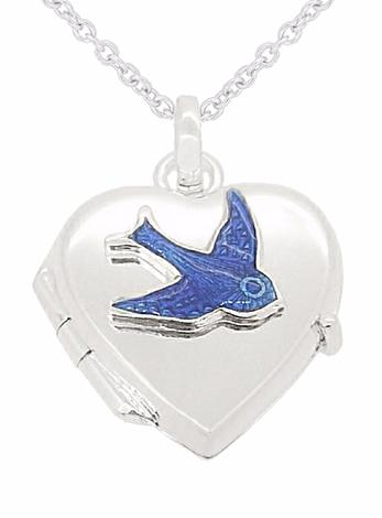 Bluebird of Happiness 15mm Heart Pendant Photo Locket Necklace