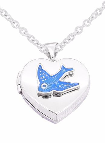 Bluebird of Happiness 16mm Photo Locket in Sterling Silver
