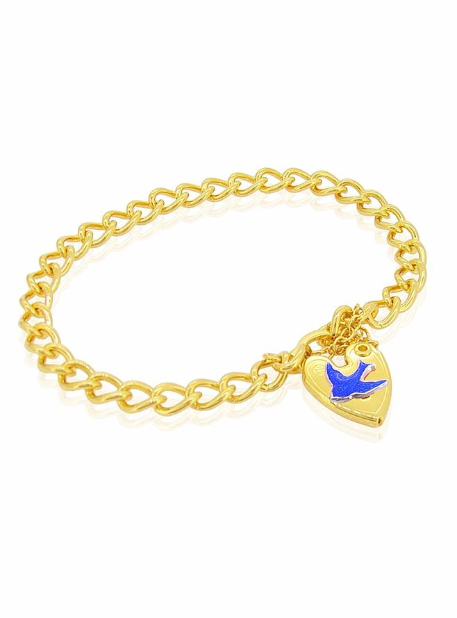 Gold Plated Bluebird of Happiness Padlock Bracelet