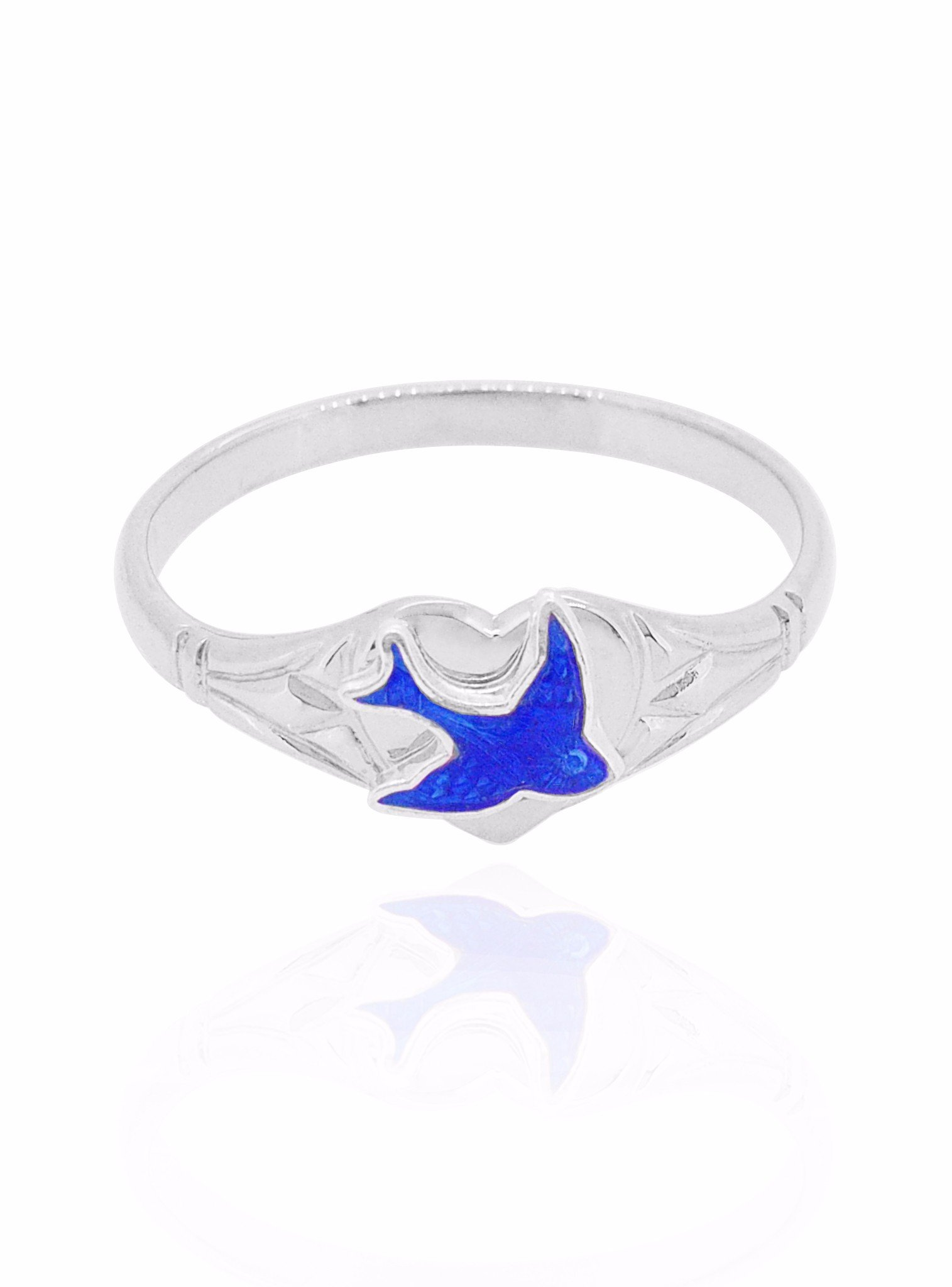 Bluebird of Happiness Heart Signet Ring in Sterling Silver