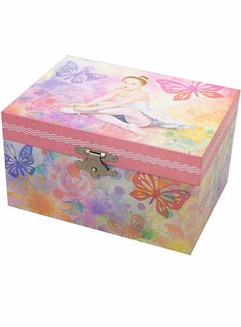 Ballerina and Butterfly Musical Jewellery Box