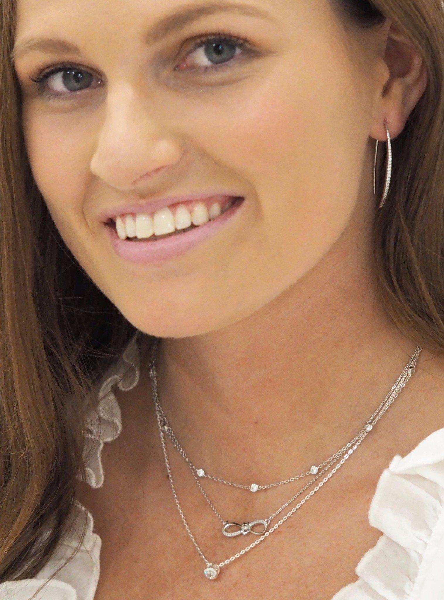 Adeline CZ Drop Bar Earrings in Sterling Silver