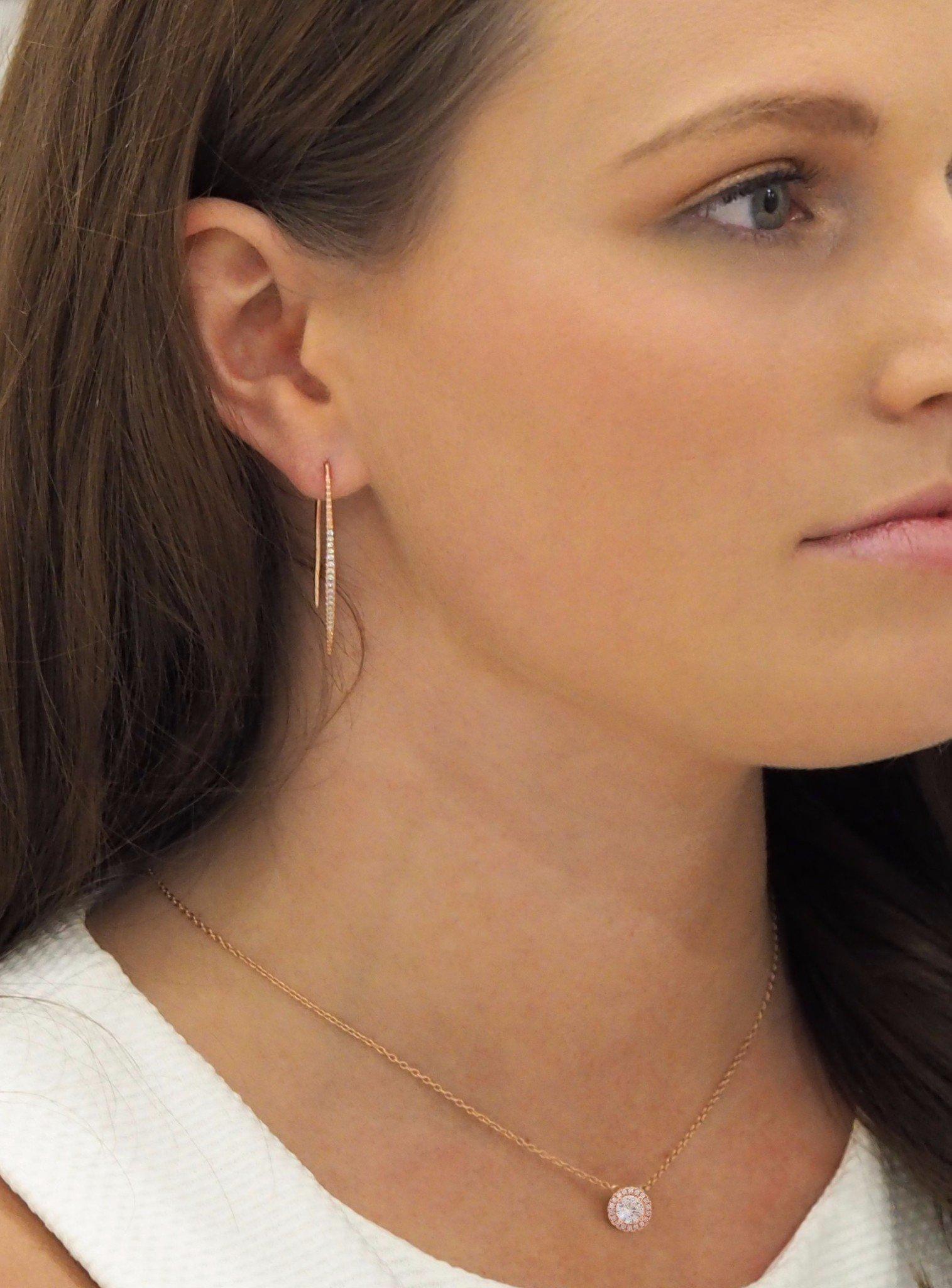 Adeline CZ Drop Bar Earrings in Rose Gold