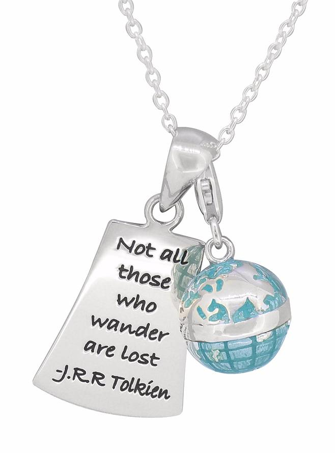 Those who wander World Globe Necklace in Sterling Silver